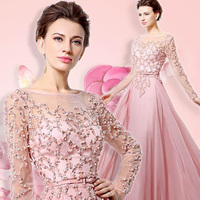 100% Real Beading Long Sleeves Evening Dresses Pink Chiffon Abendkleider 2018 Illusion Neckline Party Designs Prom Gowns OL051