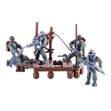New Arrive Military Series Crossing Swamp Mini Particle Children Building Block Doll Toy for Children Christmas Gift new arrive 6 styles policemen soldiers military doll model toys for children learning playing christmas gift