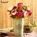 Flor de seda do vintage europeu 1 queda vivid peony bouquet flores artificiais falso partido home decoração do casamento da folha 13 ramos
