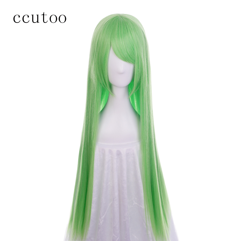 ccutoo Code Geass C.C CC Empress 100cm Green Long Straight Synthetic Hair Cosplay Wig Heat Resistance Fiber image