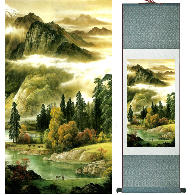 landscape painting Home Office Decoration Chinese scroll painting mountain and River paintingPrinted painting042305