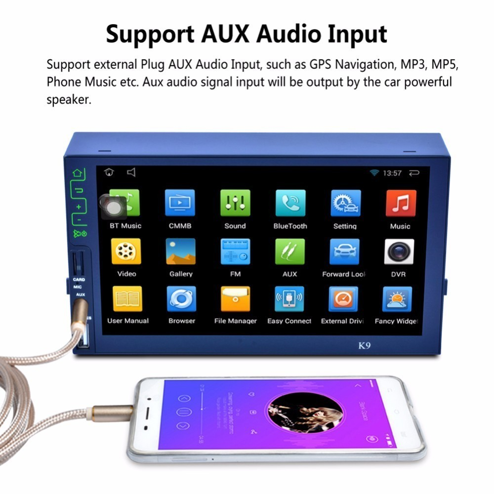 7 Bluetooth HD Car MP5 Player AM FM RDS Auto Radio Android 5.1 Tuner 7inch Quad-core 3G Wifi Connect GPS Navigation Mirror Link android 6 0 quad core 1gb 16gb head unit car radio 7 inch bluetooth wifi mirror link am fm rds gps navigation 2 din car stereo