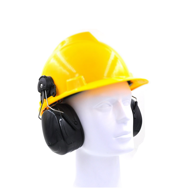 New Anti noise On Helmet Earmuffs Ear Protector For Safety Helmet Cap Use Factory Construction Work Safety Hearing Protection-in Ear Protector from Security & Protection