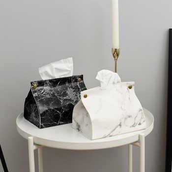 Conteneur de caisses en tissu PU cuir marbre motif serviette distributeur de papiers sac boîte cosmétique étui pochette organisateur