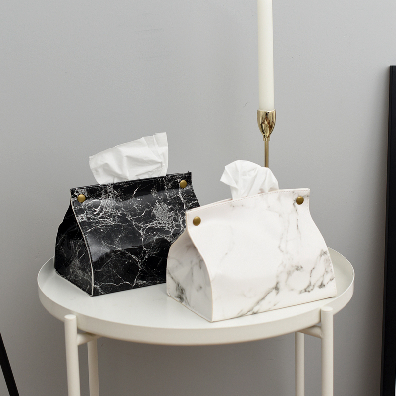 Tissue Case Box Container PU Leather Marble Pattern Napkin Tissue Holder Papers Bag Cosmetic Box Case Pouch Organizer