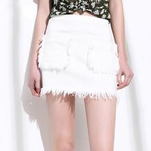 White Denim Skirts Women A-Line Tassel Pockets Elastic Jean Casual Mini Skirts Simple Design New Fashion Style 2017