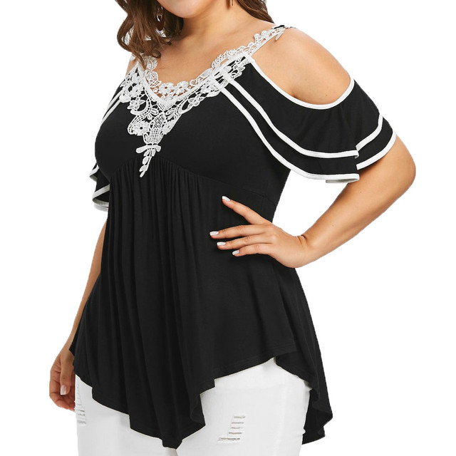 Plus Size 5XL Summer Womens Tops and Blouses 2018 Streetwear Lace Cold Shoulder Tee Shirts Tunic Ladies Top for Womens Clothing 1