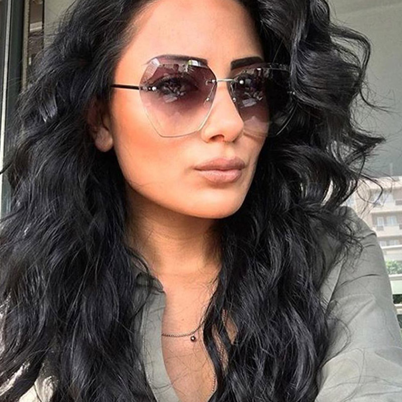 daab285cf0 2017 Women Oversized Cutting Rimless Sunglasses Fashion Large Clear  Transparent Sun Glasses For Female Pink Blue Elegant Eyewear-in Sunglasses  from Apparel ...