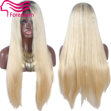 Virgin Two Tone Human Hair Lace Front Wigs Straight Ombre Blonde Wigs Brazilian Human Hair Full