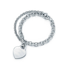 SHINETUNG 1:1 S925 Sterling Silver Genuine TIFF Heart-Shaped Silver Trendy Pendant Bracelet Women Fine High-End Luxury Jewelry equte elegant s925 sterling silver heart pendant anklet