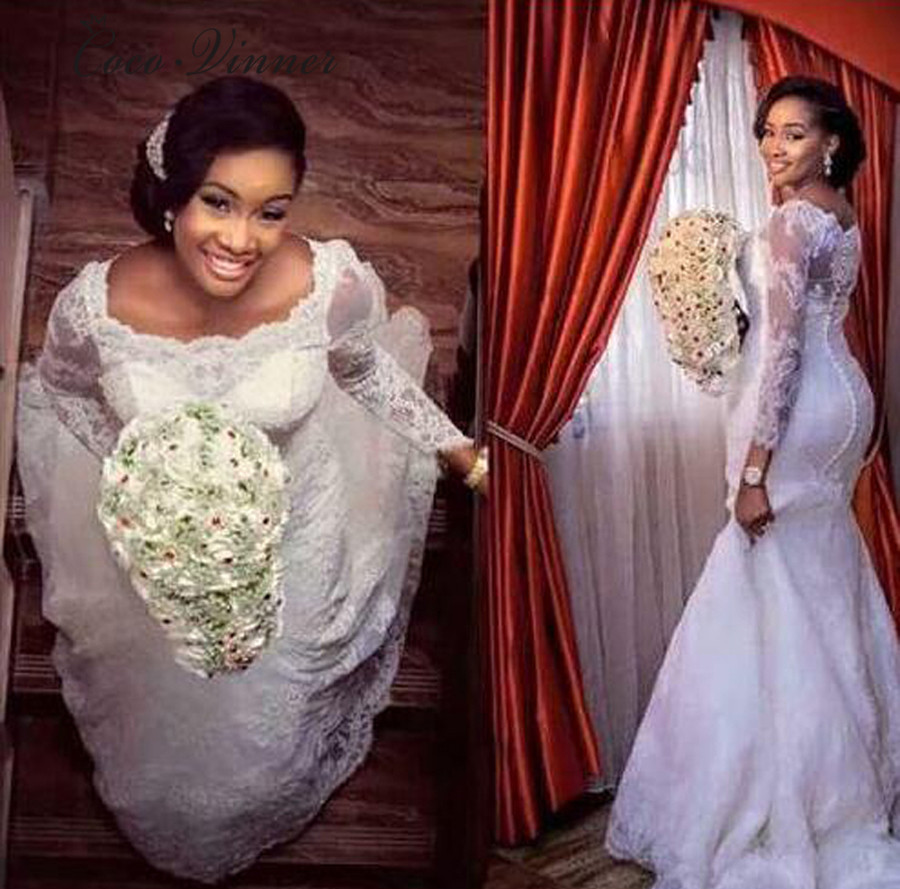 Long Sleeve Lace Appliques Beading Africa Mermaid Wedding Dresses 2019 New Plus Size Pure White Vintage Lace Wedding Dress W0257