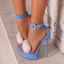 Summer Women Suede Denim Pompon Sandals Hairball Buckle Strap High Heels Open Toe Stiletto Gladiator Sexy Shoes Party Sandals