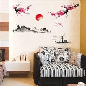 Image 5 - Çin tarzı Sakura japon pembe kiraz çiçeği ağaç dekor duvar Sticker dekor