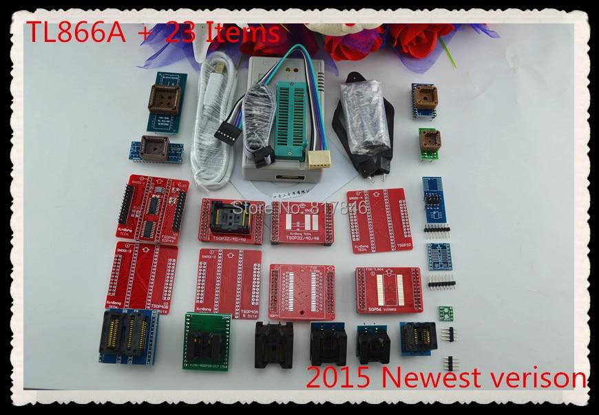 Nouveau V8.33 XGECU TL866II Plus TL866A universel minipro AVR PIC Bios USB programmeur nand flash 24 93 25 mcu AVR + 24 adaptateurs