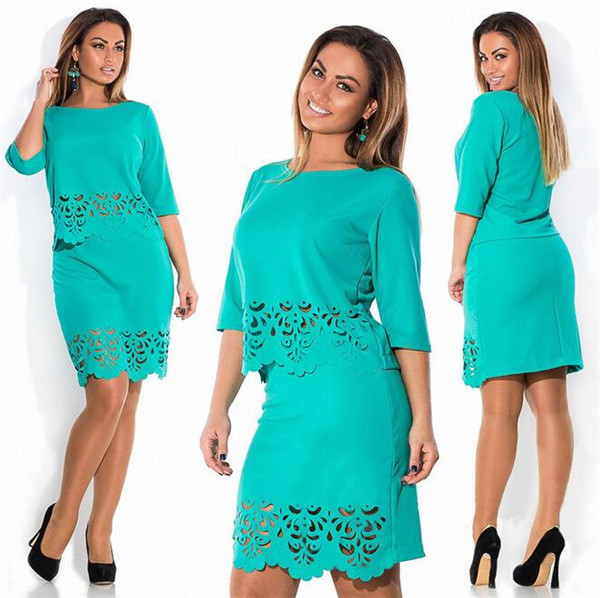 New-Summer-Women-Elegant-2-Piece-Set-Plus-Size-O-neck-Half-Sleeve-Women-Hollow-Out (2)
