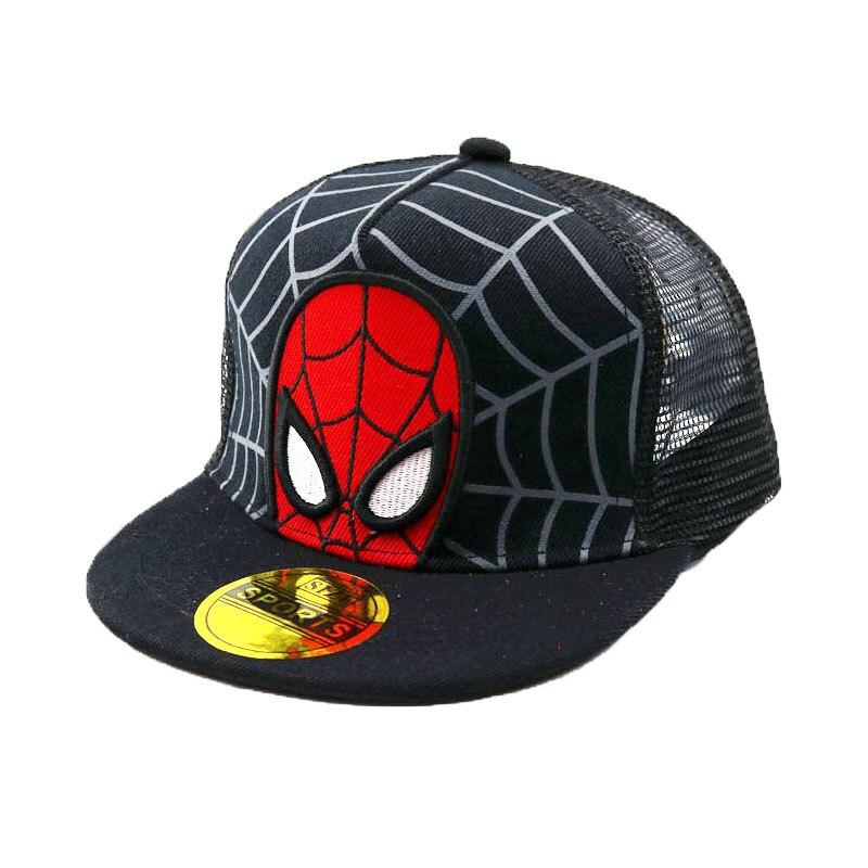 Unisex Child Baseball Cap Summer Mesh Patchwork Spider-Man Hip Hop Adjustable Snapback Baseball Hat Kid black Ball Casquette