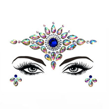 Face Jewel for Women Forehead Glitter Sticker Makeup Crystal Diamond Eyebrow Deco Gems For Halloween Party Cos Play 4pcs/lot