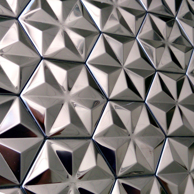 Self Adhesive Silver Snowflake Design Stainless Steel Metal Mosaic