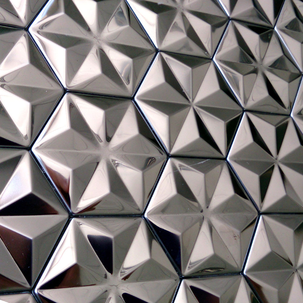 self adhesive silver snowflake design stainless steel metal mosaic tiles for kitchen backsplash tiles bedroom