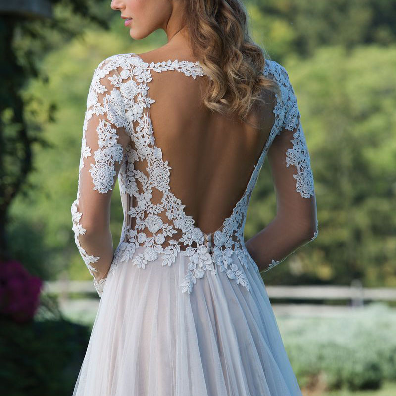 Long Sleeves Boho Wedding Dress 2019 Backless Floor Length Appliques Lace A Line Tulle Vintage Bride Dress Wedding Gown