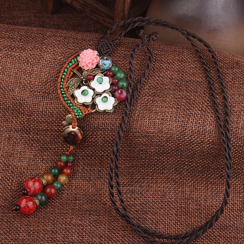 Ручная работа, Плетеный полумесяц, модное винтажное ожерелье-чокер, Женская оболочка, цветок, ювелирные изделия, новое этническое ожерелье, ...