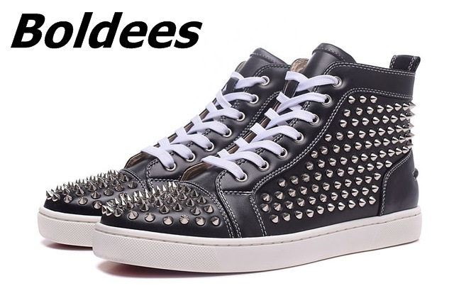 Boldees Tennis Men Sportswear Black Party Shoes Suede Spikes Studded Shoes Men Brand High Top Casual Shoes Flats Sneakers - 3