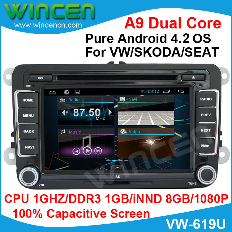 2015 pure Android 4.2 Car DVD Capacitive Screen for VW Golf 5 6 Passat Jetta Tiguan Touran Polo SKODA Octavia SEAT Altea Leon