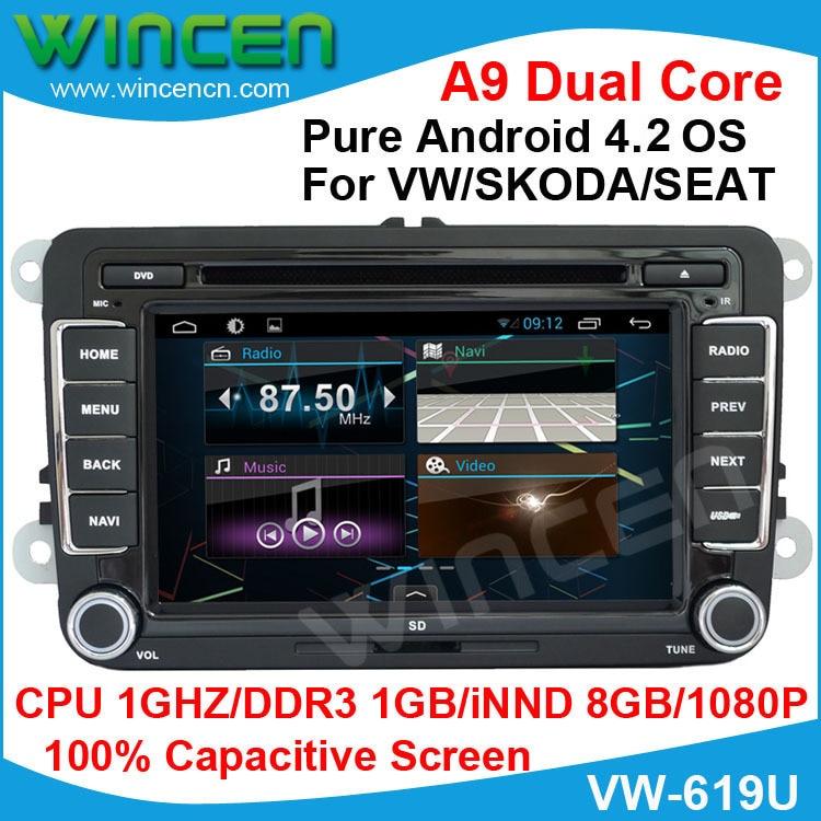 2015 pure Android 4.2 Car DVD Capacitive Screen for VW Golf 5 6 Passat Jetta Tiguan Touran Polo SKODA Octavia SEAT Altea Leon