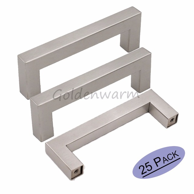 12 12mm Square Bar Door Handle Mirror Brushed Stainless Steel Kitchen Cabinet Drawer Pulls