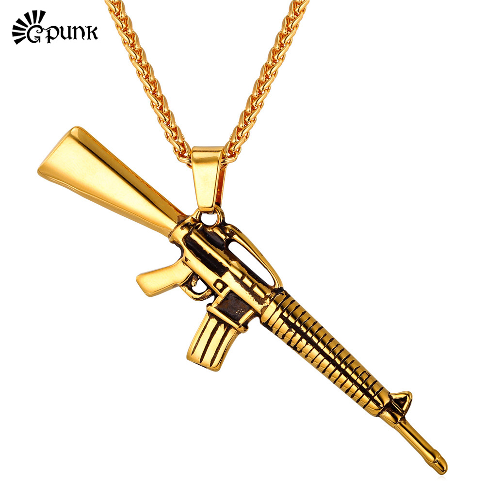 gun necklace mens stainless steel chains hiphop punk rock jewelry ...