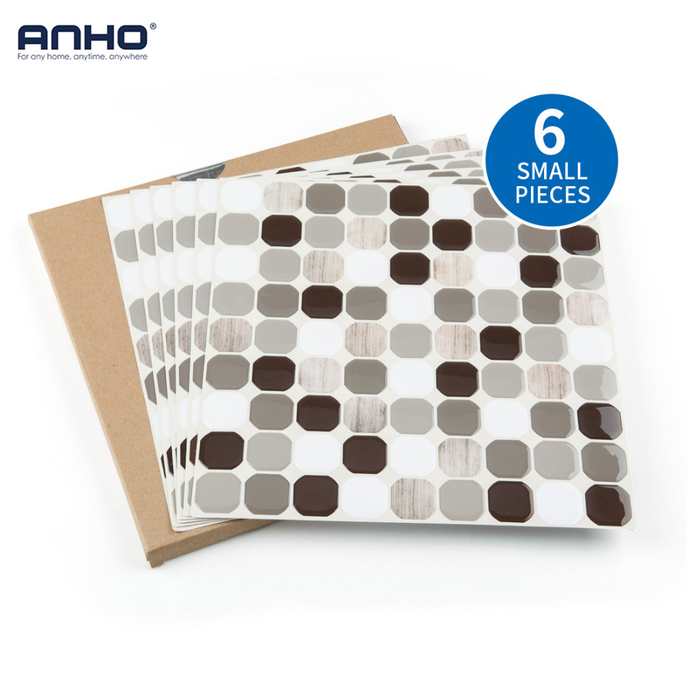 ANHO 3D Foam Wall Sticker Self Adhesive 6PCS 12x12 inch Wall Paper for DIY Home Decor Bedroom Kitchen Waterproof Octagon stylish dolphin pattern 3d wall sticker for home decor