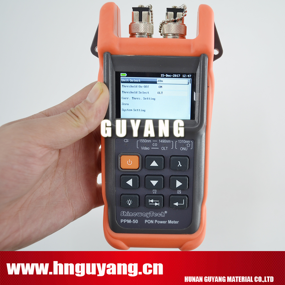 Handheld PON Power Meter with PON Network Testing Wavelength (1490nm, 1550nm,1310nm) ONT / OLT ShinewayTech PPM-50Handheld PON Power Meter with PON Network Testing Wavelength (1490nm, 1550nm,1310nm) ONT / OLT ShinewayTech PPM-50