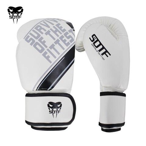 Luvas de Boxe Sotf Adultos Cobra Venenosa Branco Preto Feroz Luta Tigre Muay Thai Luvas Boxe Sanda Luva Mma Mod. 392356