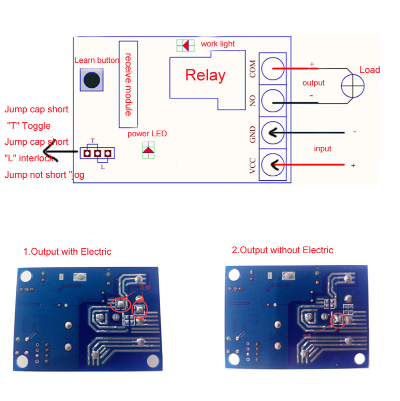 DC 12V-48V 1CH 1 CH Wireless Relay Remote Control Switch System Radio  Control Switch Receiver Remote Transmitter 315/433Mhz