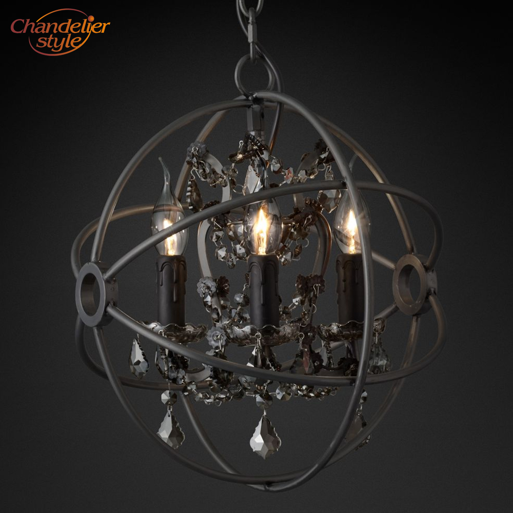 Image 2 - Foucaults Orb Smoke Crystal Chandelier Lighting Rustic Candle Chandeliers Lamp LED Pendant Hanging Light Hotel Chandelier Light-in Chandeliers from Lights & Lighting