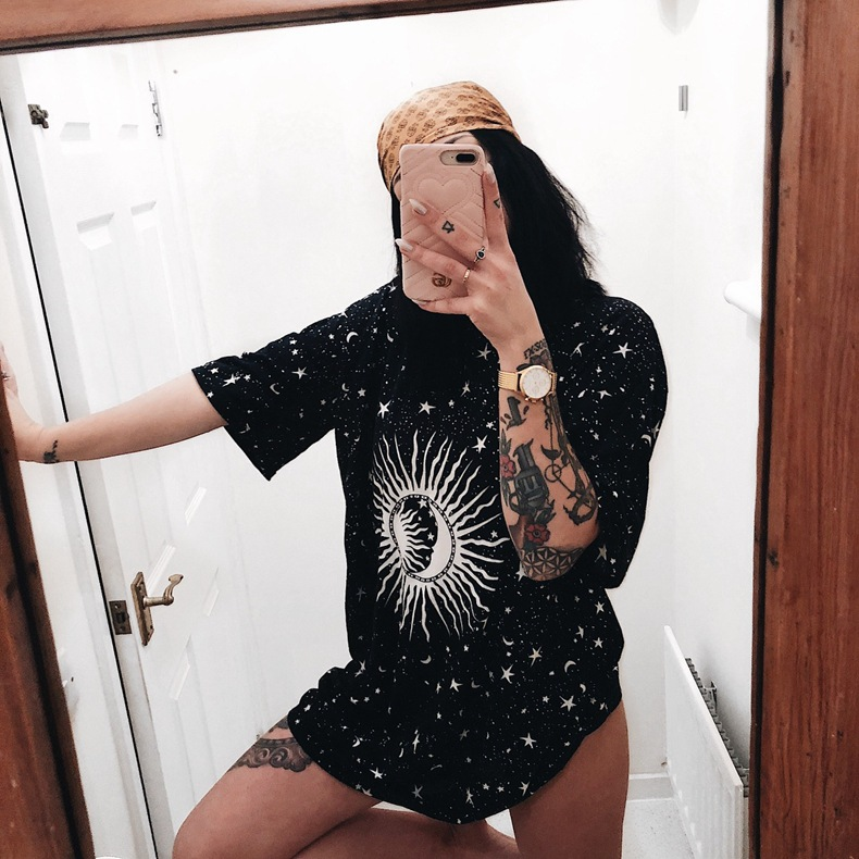 Vintage Crescent Sterne Sonne Druck Frauen t-shirt Casual Top Baumwolle Hipster T-shirt Für Mädchen Tumblr Top T DropShipping