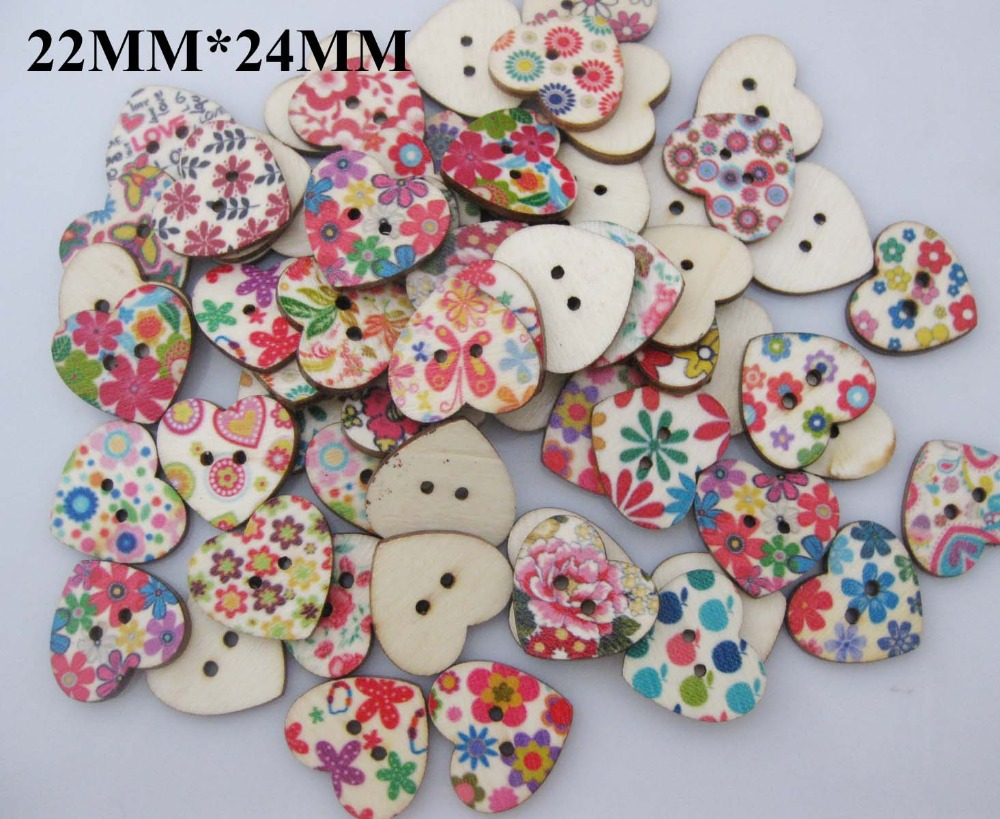 WBNKOG 22mm*24mm Printed Flower Heart wood sewing buttons mix 100pcs Flat back garment accessories