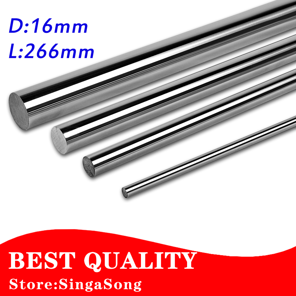 2pcs Linear Shaft 16mm L-266mm linear round shaft harden rod chrome plated rod cnc parts диски helo he844 chrome plated r20