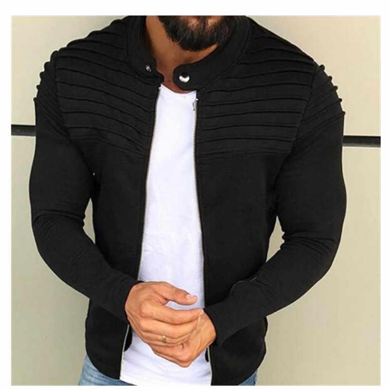 봄 가을 새로운 남성 지퍼 자켓 남성 캐주얼 Streetwear 긴 소매 솔리드 코트 남성 스트라이프 닦았 의류