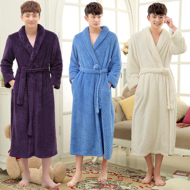 bec88bf254 Hot Sale Men Long Winter Thick Warm Bath Robe Men Silk Soft Flannel  Bathrobe Mens Dressing Gown Male Kimono Robes Man Bathrobes
