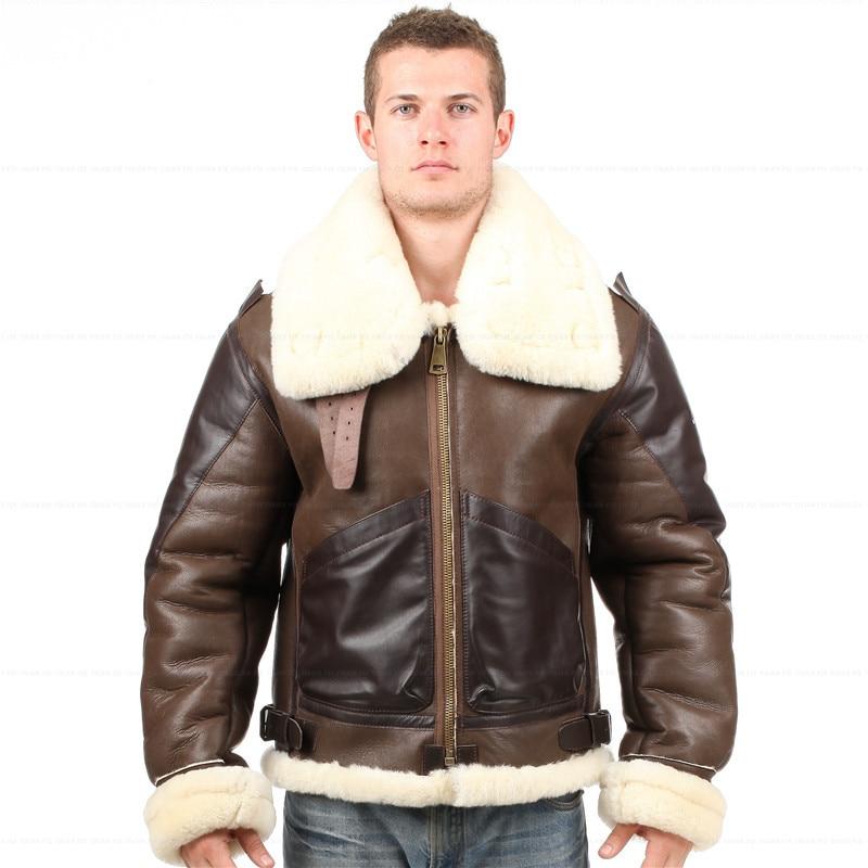 4721d14d895 Popular Leather Sheepskin Flying Jacket-Buy Cheap Leather. B3 shearling Leather  jacket Bomber Fur pilot World ...