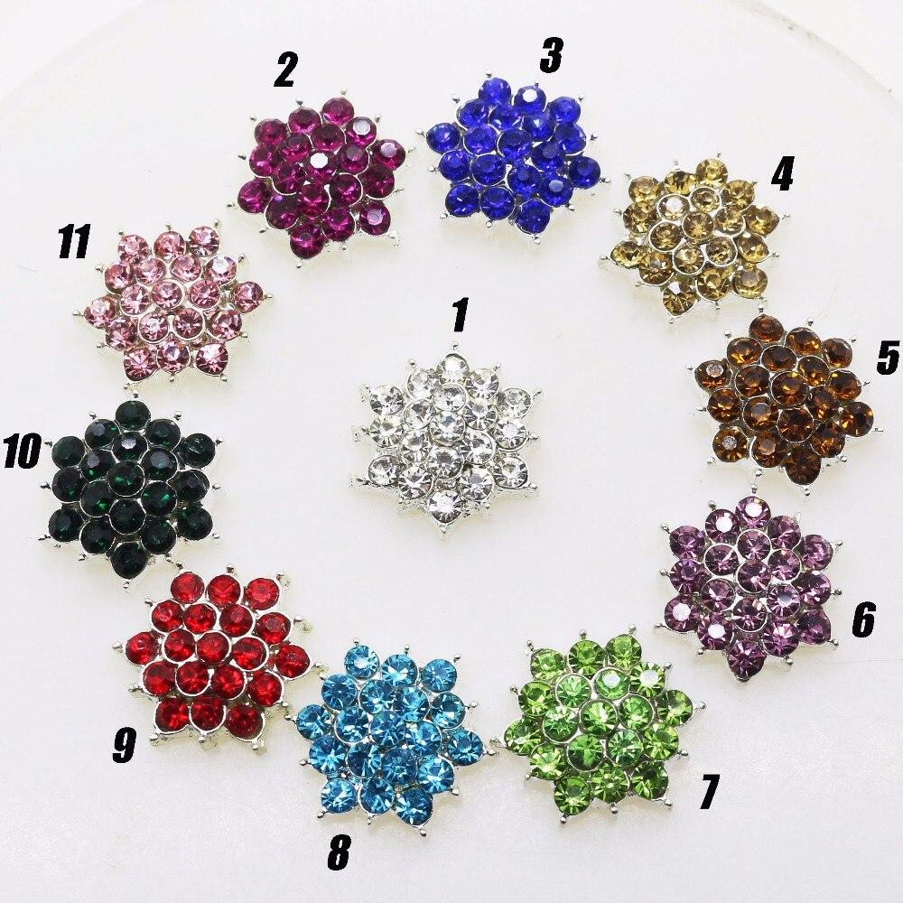 DIY 17 мм 10 шт./pank Bling Металл Мода цветок круглый кластер Кристалл Rhinestone Jewel Свадебные металлические пуговицы можно смешивать цвет