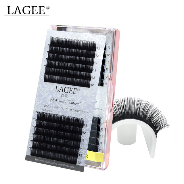 LAGEE high-quality faux mink Individual eyelashes extensions Slightly Glossy black fake false eyelashes soft natural cilia lashe