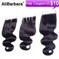Alibarbara hair brazilian body wave lace closure free style color 1b  human hair brazilian virgin hair body wave lace closure