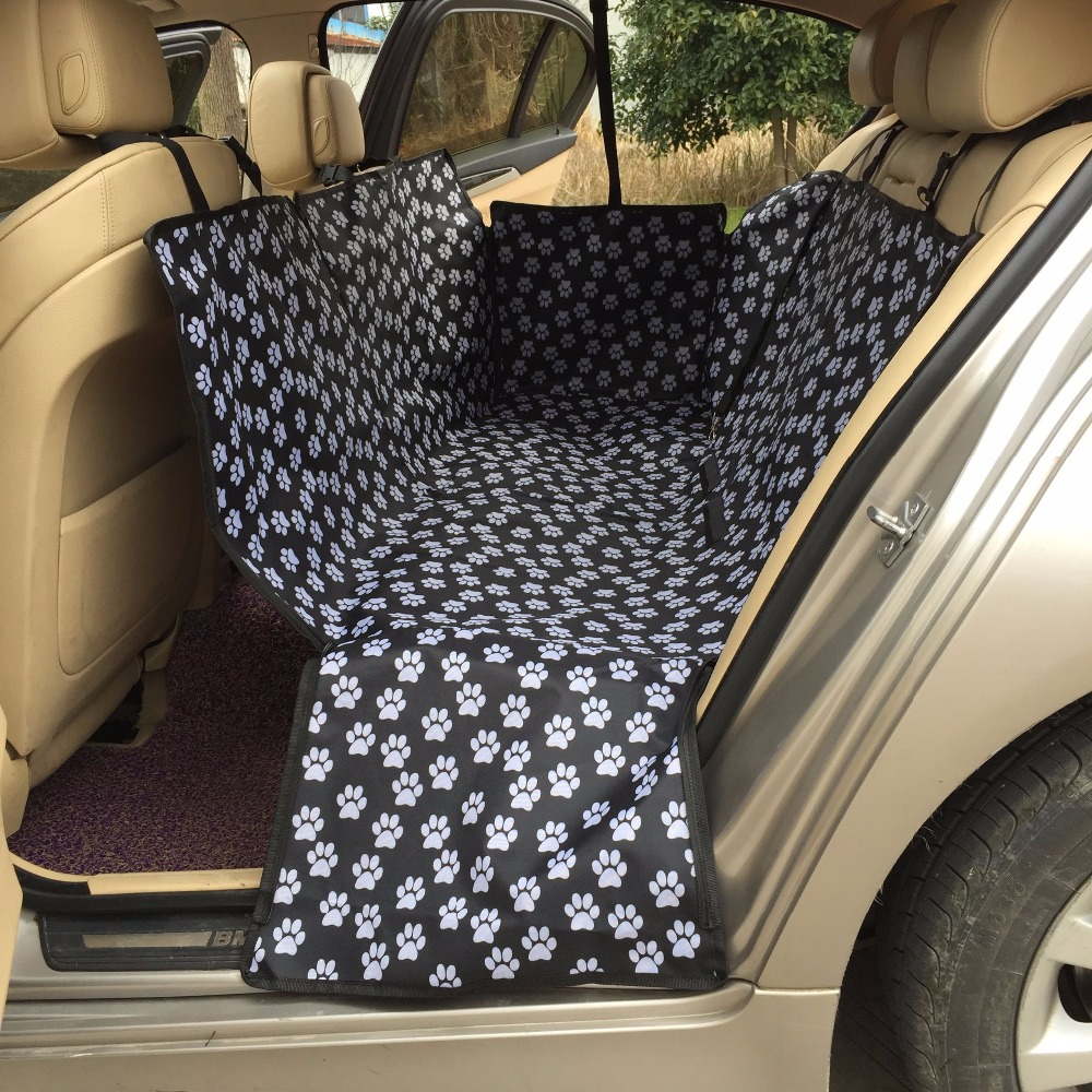 Pet Carriers Oxford Fabric Paw Pattern Car Pet Seat Covers Waterproof Back Bench Seat Travel Accessories Car Seat Covers Mat