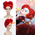 Aicos Alice in Wonderland Red Queen Synthetic Wig Women Girl's Short Curly Red Color Movie Cosplay Wig Party Wig Free Shipping