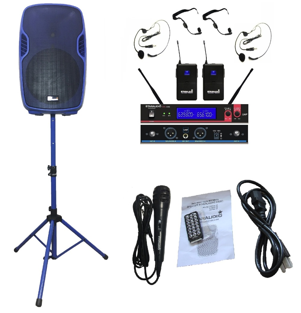 STARAUDIO SSBM-15RGB 15 3500W Power Active PA DJ USB SD FM BT Stage Speaker W/ 2CH UHF Headset Mic Stand Wired Mic