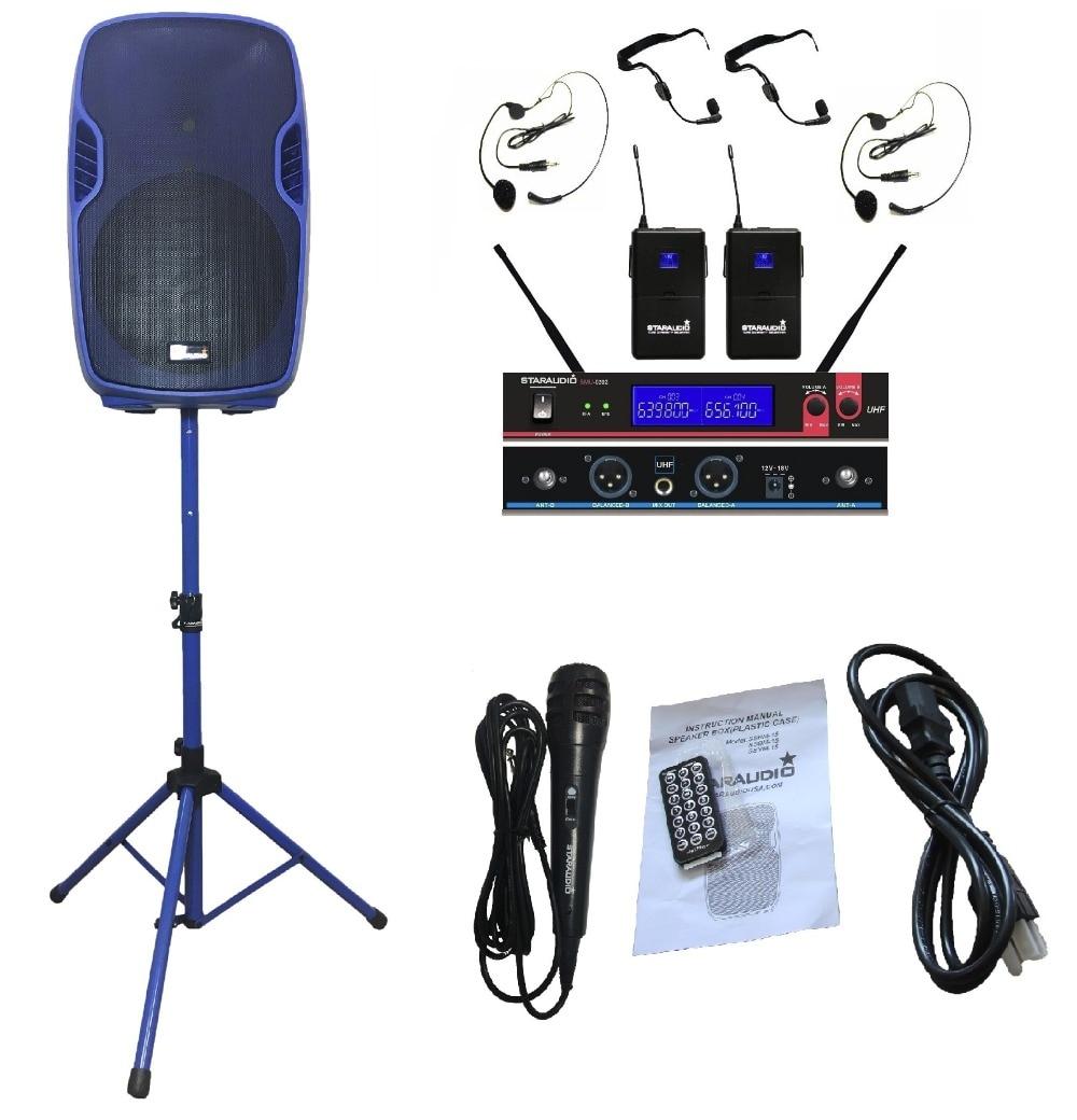 STARAUDIO SSBM-15RGB 15&#8243; 3500W Power <font><b>Active</b></font> PA DJ Stage USB SD FM BT Stage <font><b>Speaker</b></font> W/ 2CH UHF Headset Mic Stand Wired Mic
