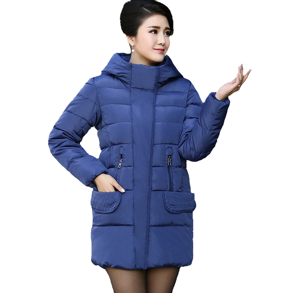 Winter Jacket Women Parka Hooded Thick Down Cotton Coat Overcoat High Quality Outwear Warm New Fashion Zipper Loose Blue Jackets  2016 new high quality brand men winter cotton down jacket coat parka clothing men and women hooded warm outerwear overcoat