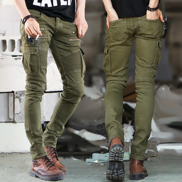Зеленый Черный Denim Байкер джинсы Мужские Узкие 2015 Взлетно-Посадочной Полосы Проблемные тонкий эластичные джинсы хип-хоп Промывают